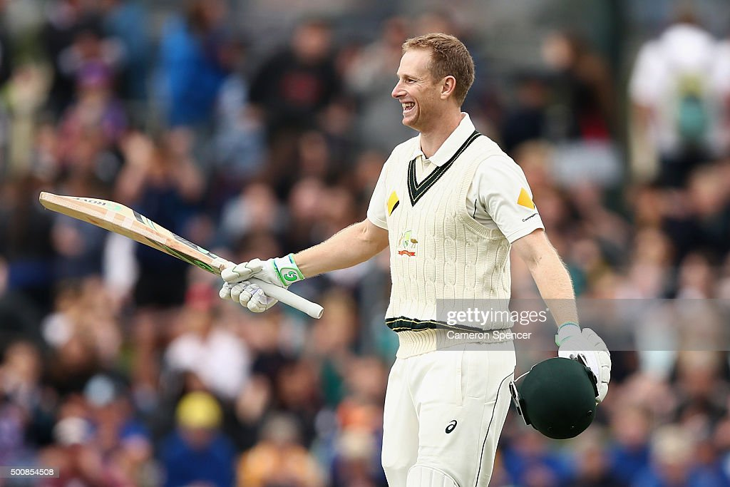 <a gi-track='captionPersonalityLinkClicked' href=/galleries/search?phrase=Adam+Voges&family=editorial&specificpeople=724770 ng-click='$event.stopPropagation()'>Adam Voges</a> of Australia celebrates scoring 200 runs during day two of the First Test match between Australia and the West Indies at Blundstone Arena on December 11, 2015 in Hobart, Australia.