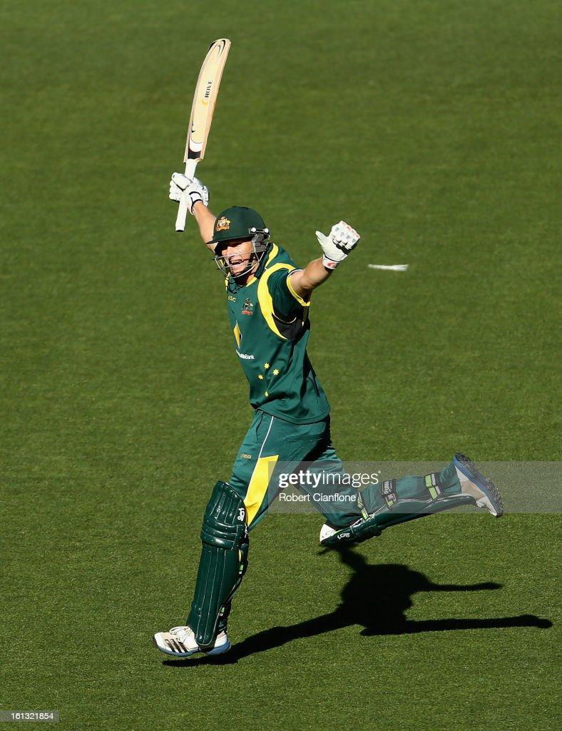 <a gi-track='captionPersonalityLinkClicked' href=/galleries/search?phrase=Adam+Voges&family=editorial&specificpeople=724770 ng-click='$event.stopPropagation()'>Adam Voges</a> of Australia celebrates scoring his maiden century during game five of the Commonwealth Bank International Series between Australia and the West Indies at the Melbourne Cricket Ground on February 10, 2013 in Melbourne, Australia.