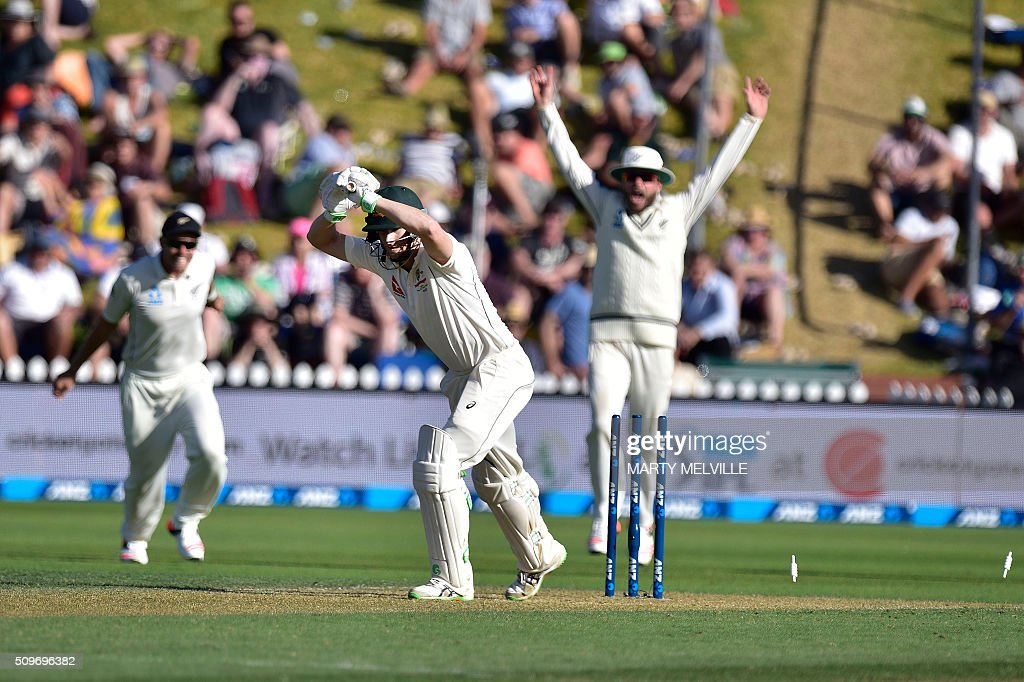 Adam Voges (C) of Australia is bowled but it was called a no ball during the first cricket Test match between New Zealand and Australia at the Basin Reserve in Wellington on February 12, 2016. AFP PHOTO / MARTY MELVILLE / AFP / Marty Melville
