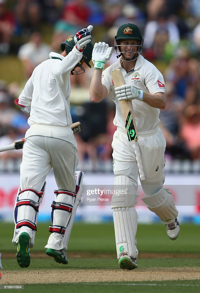 <a gi-track='captionPersonalityLinkClicked' href=/galleries/search?phrase=Adam+Voges&family=editorial&specificpeople=724770 ng-click='$event.stopPropagation()'>Adam Voges</a> of Australia is congratulated by <a gi-track='captionPersonalityLinkClicked' href=/galleries/search?phrase=Nathan+Lyon+-+Cricketer&family=editorial&specificpeople=11072184 ng-click='$event.stopPropagation()'>Nathan Lyon</a> of Australia after reaching his double century during day three of the Test match between New Zealand and Australia at Basin Reserve on February 14, 2016 in Wellington, New Zealand.