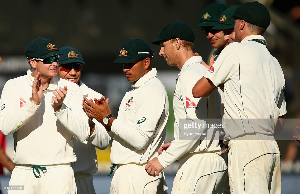 <a gi-track='captionPersonalityLinkClicked' href=/galleries/search?phrase=Adam+Voges&family=editorial&specificpeople=724770 ng-click='$event.stopPropagation()'>Adam Voges</a> of Australia is congratulated by team mates at stumps during day three of the Test match between New Zealand and Australia at Basin Reserve on February 14, 2016 in Wellington, New Zealand.