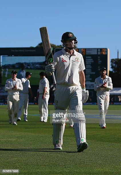 Adam Voges of Australia leave the ground at stumps on 176 not out during day two of the Test match between New Zealand and Australia at Basin Reserve...