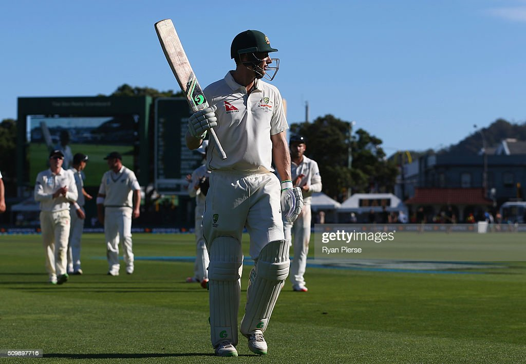 <a gi-track='captionPersonalityLinkClicked' href=/galleries/search?phrase=Adam+Voges&family=editorial&specificpeople=724770 ng-click='$event.stopPropagation()'>Adam Voges</a> of Australia leave the ground at stumps on 176 not out during day two of the Test match between New Zealand and Australia at Basin Reserve on February 13, 2016 in Wellington, New Zealand.