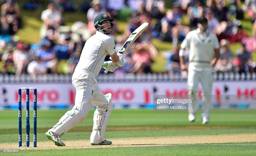 Adam Voges of Australia plays a shot during day three of the first cricket Test match between New Zealand and Australia at the Basin Reserve in Wellington on February 14, 2016. / AFP / Marty Melville