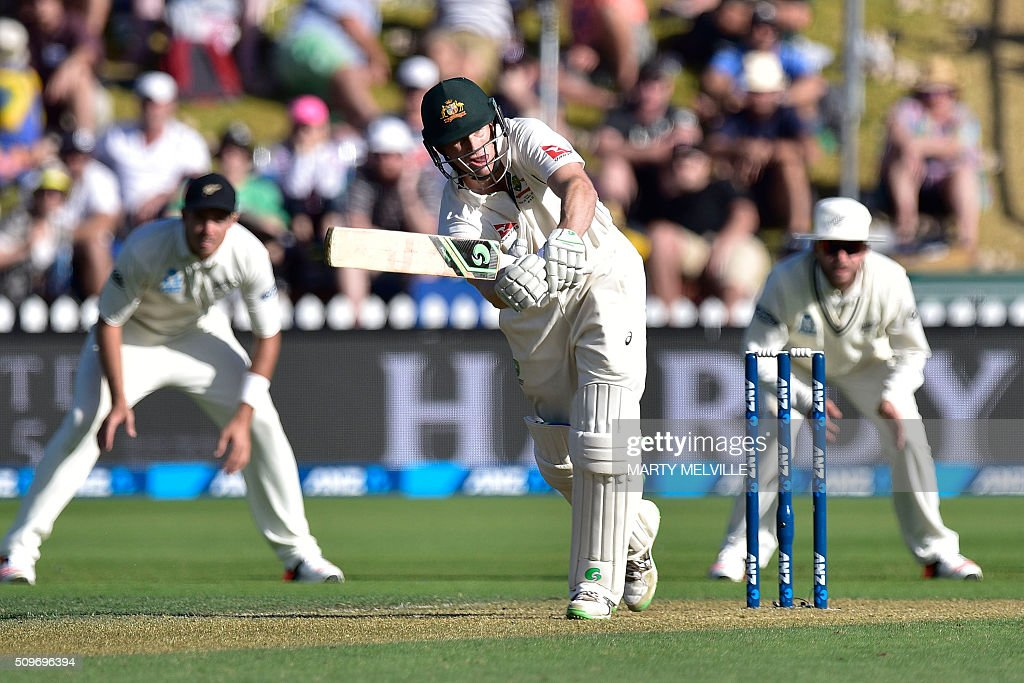 Adam Voges of Australia plays a shot during the first cricket Test match between New Zealand and Australia at the Basin Reserve in Wellington on February 12, 2016. AFP PHOTO / MARTY MELVILLE / AFP / Marty Melville