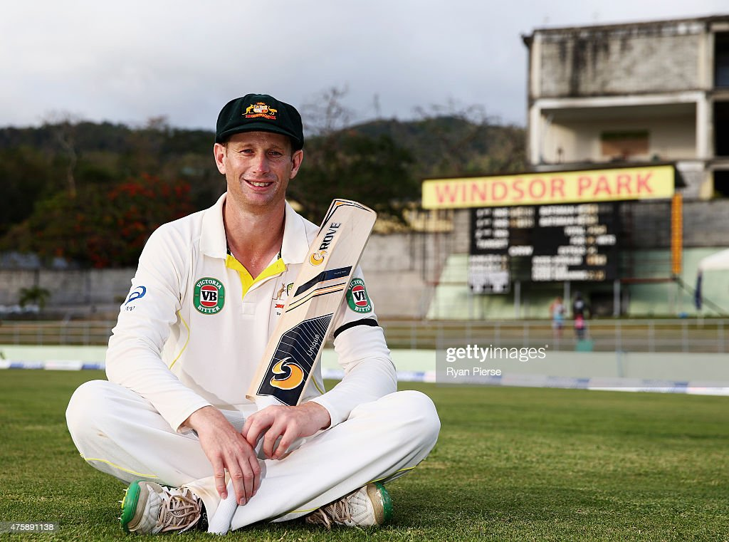<a gi-track='captionPersonalityLinkClicked' href=/galleries/search?phrase=Adam+Voges&family=editorial&specificpeople=724770 ng-click='$event.stopPropagation()'>Adam Voges</a> of Australia poses on the ground at stumps after scoring 130 not out in his test debut during day two of the First Test match between Australia and the West Indies at Windsor Park on June 4, 2015 in Roseau, Dominica.