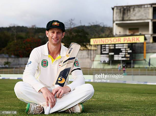 Adam Voges of Australia poses on the ground at stumps after scoring 130 not out in his test debut during day two of the First Test match between...