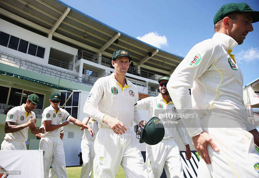 <a gi-track='captionPersonalityLinkClicked' href=/galleries/search?phrase=Adam+Voges&family=editorial&specificpeople=724770 ng-click='$event.stopPropagation()'>Adam Voges</a> of Australia takes to the field during day one of the First Test match between Australia and the West Indies at Windsor Park on June 3, 2015 in Roseau, Dominica.