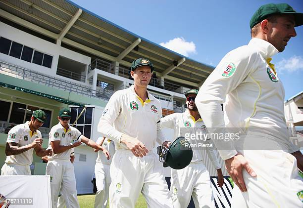 Adam Voges of Australia takes to the field during day one of the First Test match between Australia and the West Indies at Windsor Park on June 3...