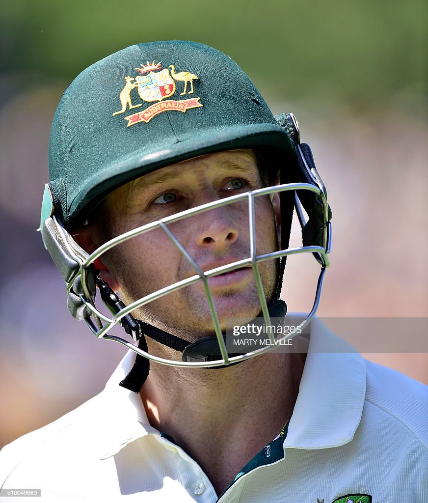 Adam Voges of Australia walks from the field at the end of the Australian innings during day three of the first cricket Test match between New Zealand and Australia at the Basin Reserve in Wellington on February 14, 2016. / AFP / Marty Melville