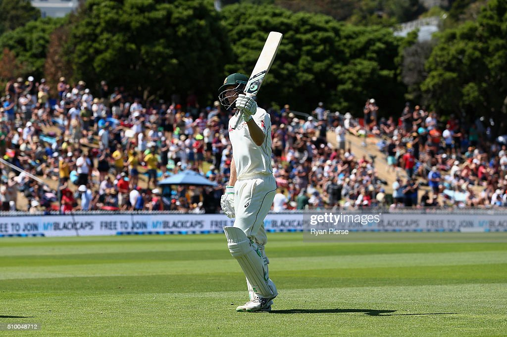<a gi-track='captionPersonalityLinkClicked' href=/galleries/search?phrase=Adam+Voges&family=editorial&specificpeople=724770 ng-click='$event.stopPropagation()'>Adam Voges</a> of Australia walks from the ground after being dismissed for 239 runs during day three of the Test match between New Zealand and Australia at Basin Reserve on February 14, 2016 in Wellington, New Zealand.