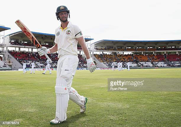 Adam Voges of Australia walks from the ground at tea on 114 not out during day two of the First Test match between Australia and the West Indies at...
