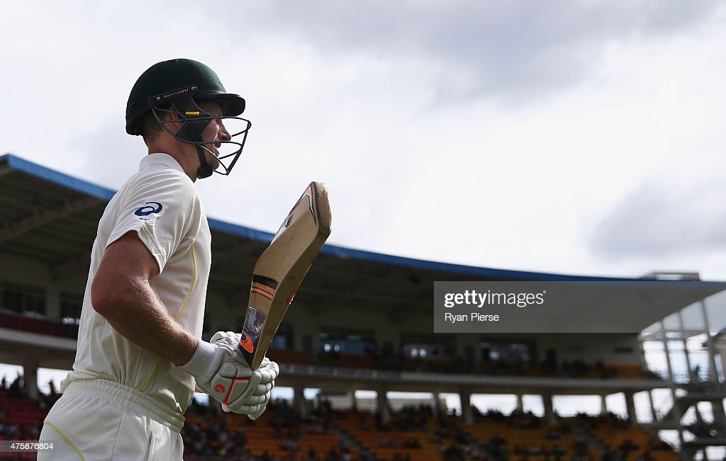 <a gi-track='captionPersonalityLinkClicked' href=/galleries/search?phrase=Adam+Voges&family=editorial&specificpeople=724770 ng-click='$event.stopPropagation()'>Adam Voges</a> of Australia walks onto the ground after tea on 114 not out during day two of the First Test match between Australia and the West Indies at Windsor Park on June 4, 2015 in Roseau, Dominica.