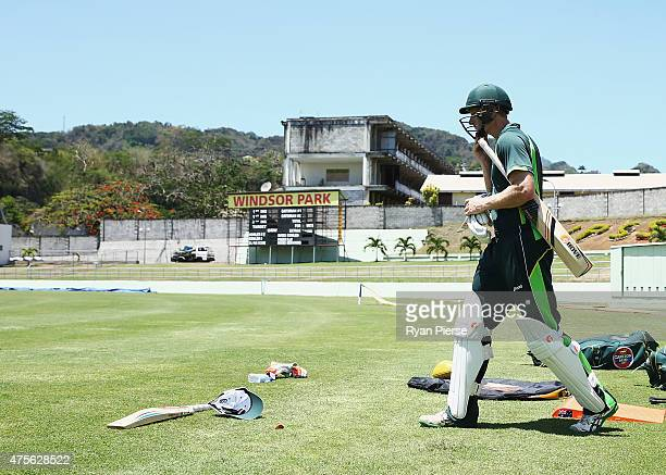 Adam Voges of Australia walks out to bat during an Australian nets session at Windsor Park on June 2 2015 in Roseau Dominica