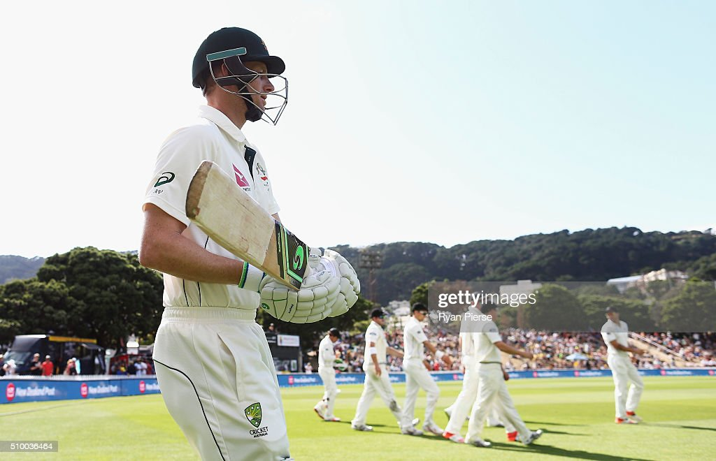 <a gi-track='captionPersonalityLinkClicked' href=/galleries/search?phrase=Adam+Voges&family=editorial&specificpeople=724770 ng-click='$event.stopPropagation()'>Adam Voges</a> of Australia walks out to bat during day three of the Test match between New Zealand and Australia at Basin Reserve on February 14, 2016 in Wellington, New Zealand.