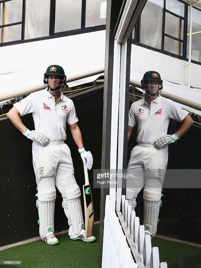 <a gi-track='captionPersonalityLinkClicked' href=/galleries/search?phrase=Adam+Voges&family=editorial&specificpeople=724770 ng-click='$event.stopPropagation()'>Adam Voges</a> of Australia walks out to bat during day two of the Test match between New Zealand and Australia at Basin Reserve on February 13, 2016 in Wellington, New Zealand.