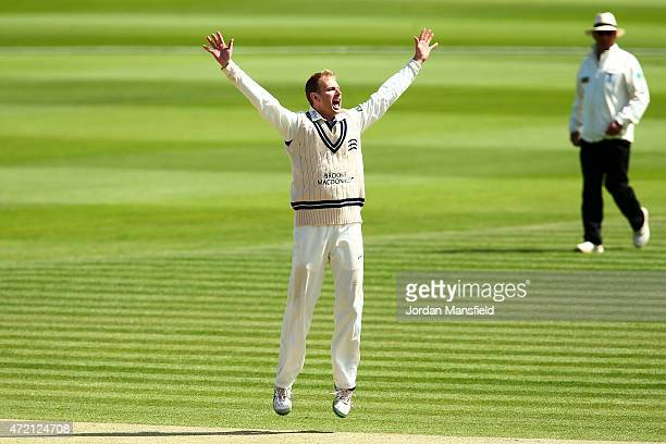 Adam Voges of Middlesex celebrates bowling out Phil Mustard of Durham during day three of the LV County Championship match between Middlesex and...