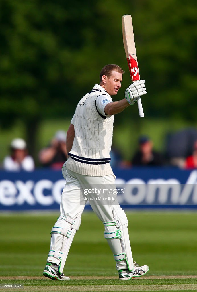 <a gi-track='captionPersonalityLinkClicked' href=/galleries/search?phrase=Adam+Voges&family=editorial&specificpeople=724770 ng-click='$event.stopPropagation()'>Adam Voges</a> of Middlesex celebrates his century during day one of the Specsavers County Championship Division One match between Middlesex and Hampshire at Merchant Taylors' School on May 29, 2016 in Northwood, England.