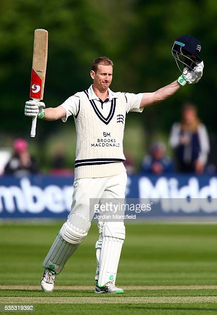 Adam Voges of Middlesex celebrates his century during day one of the Specsavers County Championship Division One match between Middlesex and...