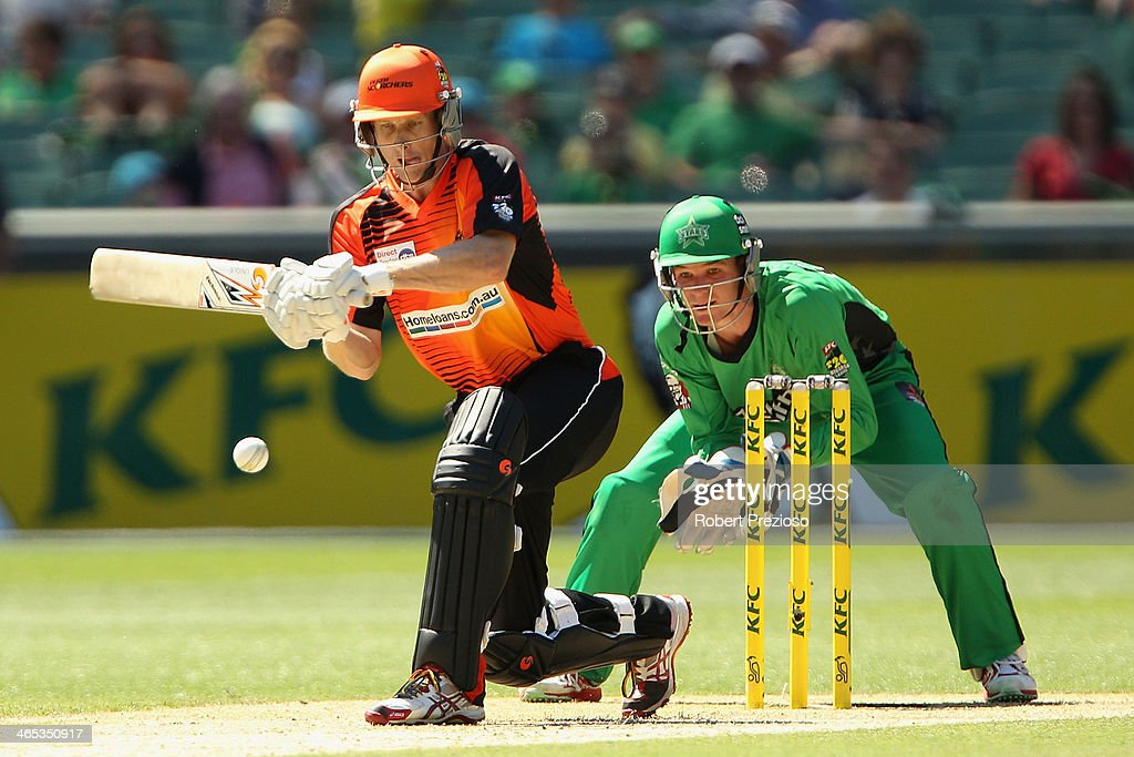 Adam Voges of the Scorchers plays a shot during the Big Bash League match between the Melbourne Stars and the Perth Scorchers at Melbourne Cricket Ground on January 27, 2014 in Melbourne, Australia.