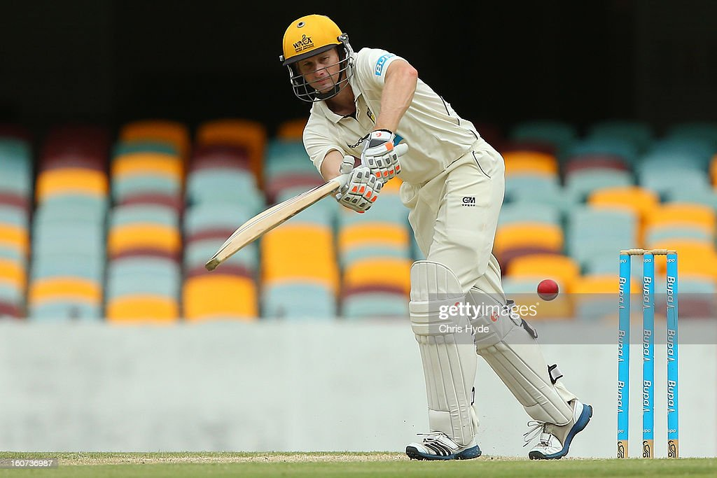 <a gi-track='captionPersonalityLinkClicked' href=/galleries/search?phrase=Adam+Voges&family=editorial&specificpeople=724770 ng-click='$event.stopPropagation()'>Adam Voges</a> of the Warriors bats during day two of the Sheffield Shield match between the Queensland Bulls and the Western Australia Warriors at The Gabba on February 5, 2013 in Brisbane, Australia.