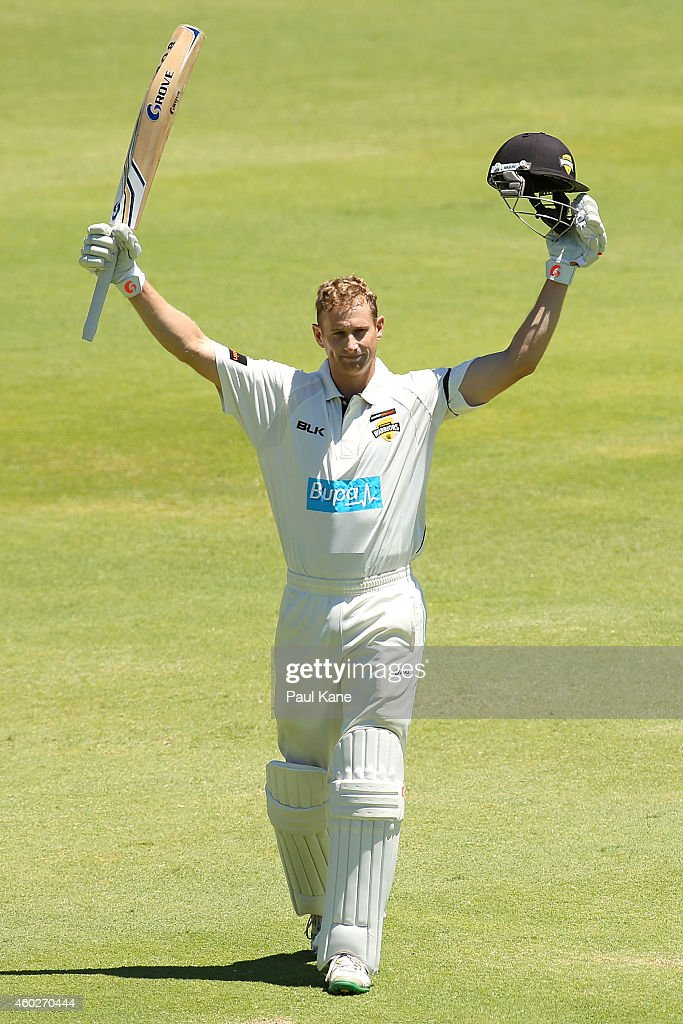 <a gi-track='captionPersonalityLinkClicked' href=/galleries/search?phrase=Adam+Voges&family=editorial&specificpeople=724770 ng-click='$event.stopPropagation()'>Adam Voges</a> of Western Australia celebrates after scoring his century during day three of the Sheffield Shield match between Western Australia and Victoria at WACA on December 11, 2014 in Perth, Australia.