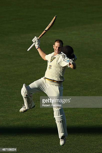Adam Voges of Western Australia celebrates scoring his century during day one of the Sheffield Shield final match between Victoria and Western...