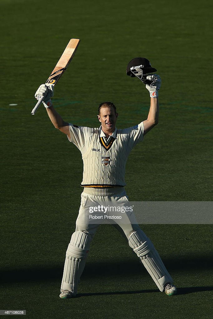 <a gi-track='captionPersonalityLinkClicked' href=/galleries/search?phrase=Adam+Voges&family=editorial&specificpeople=724770 ng-click='$event.stopPropagation()'>Adam Voges</a> of Western Australia celebrates scoring his century during day one of the Sheffield Shield final match between Victoria and Western Australia at Blundstone Arena on March 21, 2015 in Hobart, Australia.