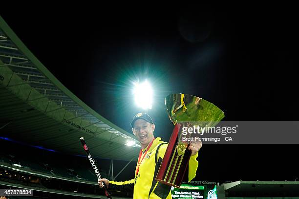 Adam Voges of Western Australia holds the Matador Cup Trophy during the Matador BBQs One Day Cup Final match between Western Australia and New South...