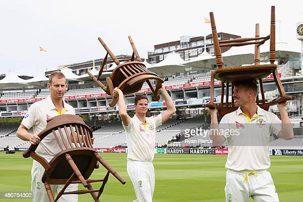 Adam Voges Steve Smith and David Warner of Australia carry chairs after a team photo during a nets session ahead of the 2nd Investec Ashes Test match...