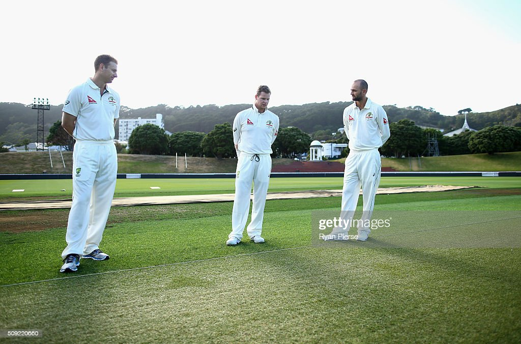 <a gi-track='captionPersonalityLinkClicked' href=/galleries/search?phrase=Adam+Voges&family=editorial&specificpeople=724770 ng-click='$event.stopPropagation()'>Adam Voges</a>, Steve Smith and <a gi-track='captionPersonalityLinkClicked' href=/galleries/search?phrase=Nathan+Lyon+-+Cricketspieler&family=editorial&specificpeople=11072184 ng-click='$event.stopPropagation()'>Nathan Lyon</a> of Australia inspect the wicket during an Australian nets session at Basin Reserve on February 11, 2016 in Wellington, New Zealand.