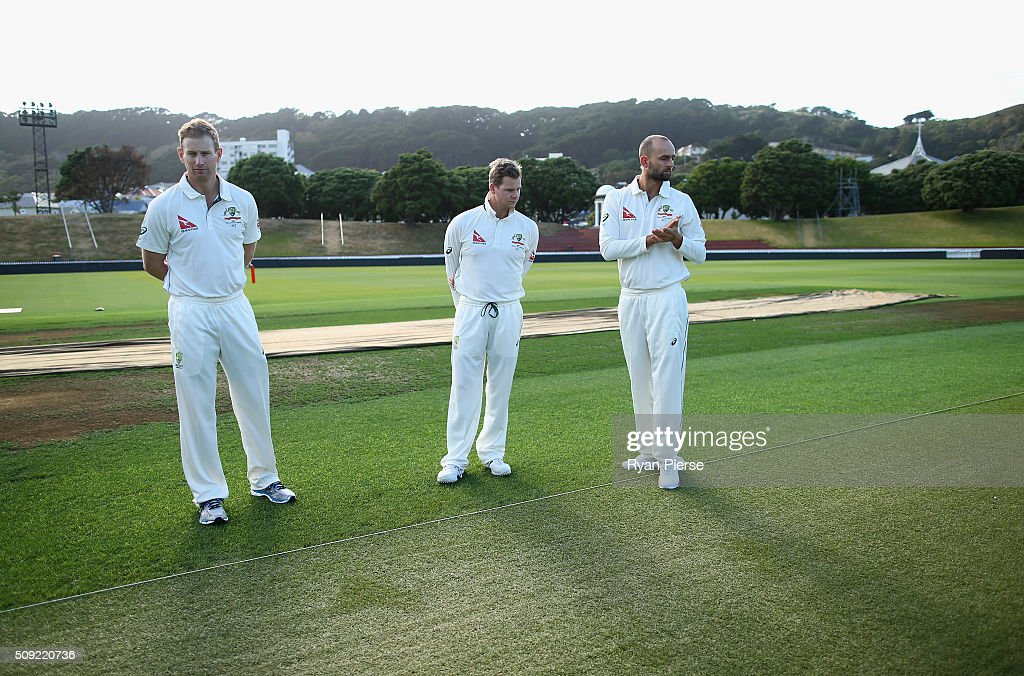<a gi-track='captionPersonalityLinkClicked' href=/galleries/search?phrase=Adam+Voges&family=editorial&specificpeople=724770 ng-click='$event.stopPropagation()'>Adam Voges</a>, Steve Smith and <a gi-track='captionPersonalityLinkClicked' href=/galleries/search?phrase=Nathan+Lyon+-+Cricketer&family=editorial&specificpeople=11072184 ng-click='$event.stopPropagation()'>Nathan Lyon</a> of Australia inspect the wicket during an Australian nets session at Basin Reserve on February 11, 2016 in Wellington, New Zealand.