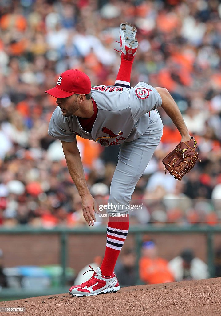 <a gi-track='captionPersonalityLinkClicked' href=/galleries/search?phrase=Adam+Wainwright&family=editorial&specificpeople=547879 ng-click='$event.stopPropagation()'>Adam Wainwright</a> #50 of the St. Louis Cardinals delivers a pitch during the first inning against the San Francisco Giants at AT&T Park on April 7, 2013 in San Francisco, California.