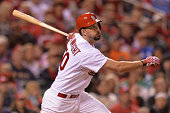Adam Wainwright of the St Louis Cardinals hits against the Colorado Rockies at Busch Stadium on September 12 2014 in St Louis Missouri