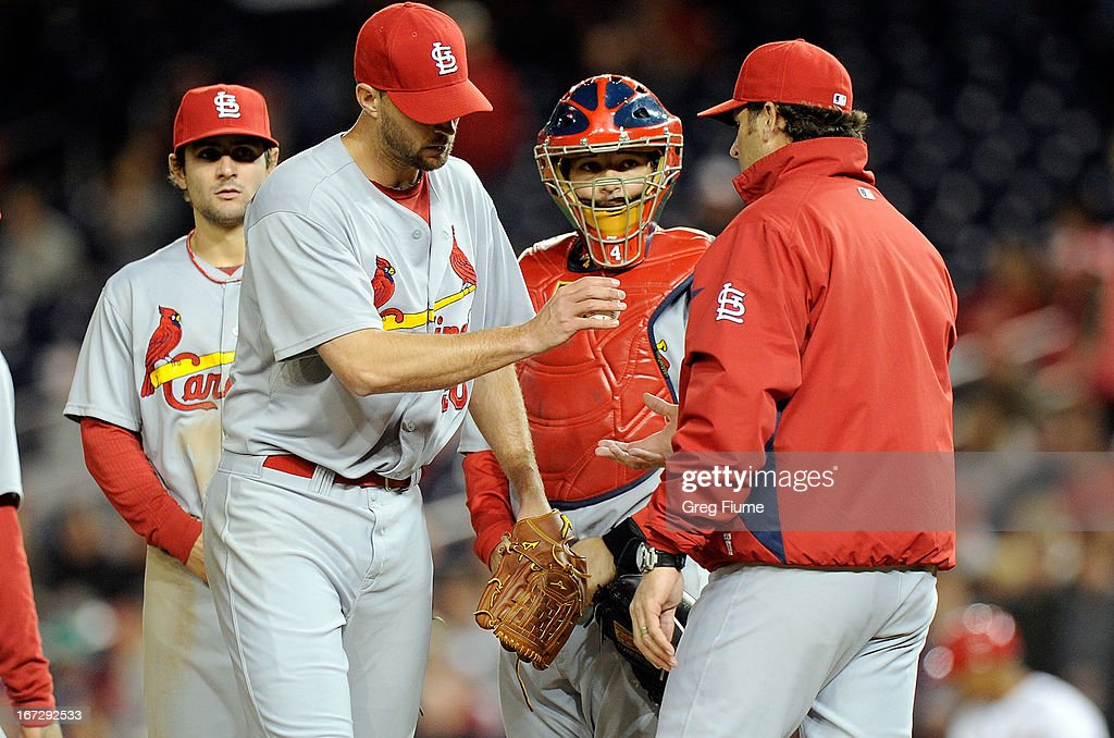<a gi-track='captionPersonalityLinkClicked' href=/galleries/search?phrase=Adam+Wainwright&family=editorial&specificpeople=547879 ng-click='$event.stopPropagation()'>Adam Wainwright</a> #50 of the St. Louis Cardinals in removed from the game by manager <a gi-track='captionPersonalityLinkClicked' href=/galleries/search?phrase=Mike+Matheny&family=editorial&specificpeople=171706 ng-click='$event.stopPropagation()'>Mike Matheny</a> in the ninth inning against the Washington Nationals at Nationals Park on April 23, 2013 in Washington, DC. St. Louis won the game 2-0.