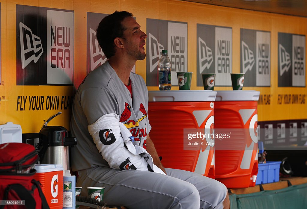 <a gi-track='captionPersonalityLinkClicked' href=/galleries/search?phrase=Adam+Wainwright&family=editorial&specificpeople=547879 ng-click='$event.stopPropagation()'>Adam Wainwright</a> #50 of the St. Louis Cardinals looks on from the dugout during the game against the Pittsburgh Pirates at PNC Park April 6, 2014 in Pittsburgh, Pennsylvania. The Pirates defeated the Cardinals 2-1.