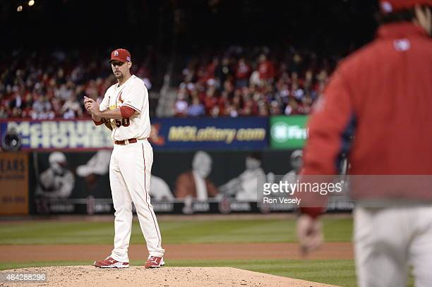 Adam Wainwright of the St Louis Cardinals looks on prior to being removed from the game in the fifth inning during Game 1 of the NLCS against the San...