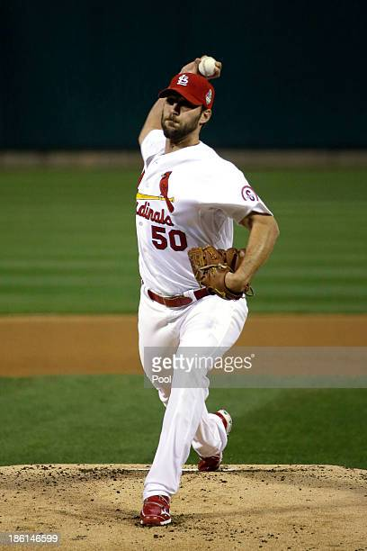 Adam Wainwright of the St Louis Cardinals pitches against the Boston Red Sox during Game Five of the 2013 World Series at Busch Stadium on October 28...