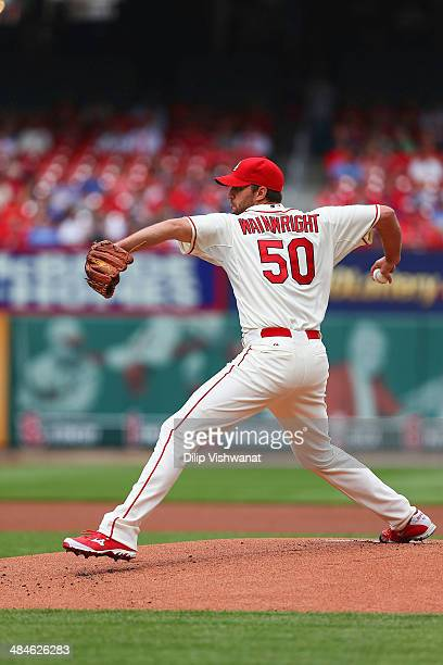 Adam Wainwright of the St Louis Cardinals pitches against the Chicago Cubs at Busch Stadium on April 12 2014 in St Louis Missouri