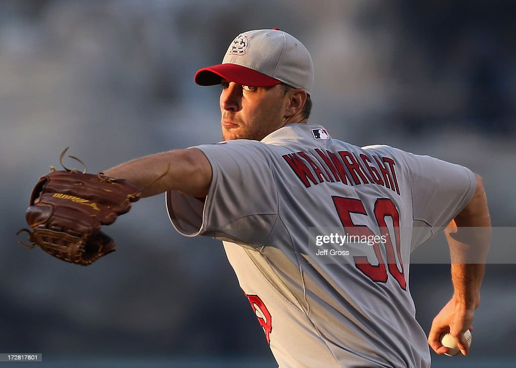 <a gi-track='captionPersonalityLinkClicked' href=/galleries/search?phrase=Adam+Wainwright&family=editorial&specificpeople=547879 ng-click='$event.stopPropagation()'>Adam Wainwright</a> #50 of the St. Louis Cardinals pitches against the Los Angeles Angels of Anaheim in the fourth inning at Angel Stadium of Anaheim on July 4, 2013 in Anaheim, California.
