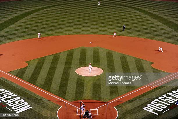 Adam Wainwright of the St Louis Cardinals pitches against the San Francisco Giants during Game One of the National League Championship Series at...