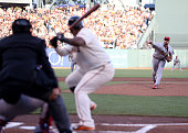 Adam Wainwright of the St Louis Cardinals pitches in the first inning to Pablo Sandoval of the San Francisco Giants during Game Five of the National...