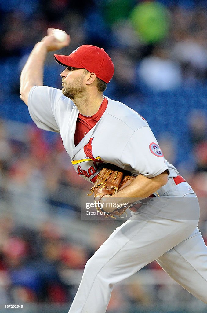 <a gi-track='captionPersonalityLinkClicked' href=/galleries/search?phrase=Adam+Wainwright&family=editorial&specificpeople=547879 ng-click='$event.stopPropagation()'>Adam Wainwright</a> #50 of the St. Louis Cardinals pitches in the fourth inning against the Washington Nationals at Nationals Park on April 23, 2013 in Washington, DC. St. Louis won the game 2-0.