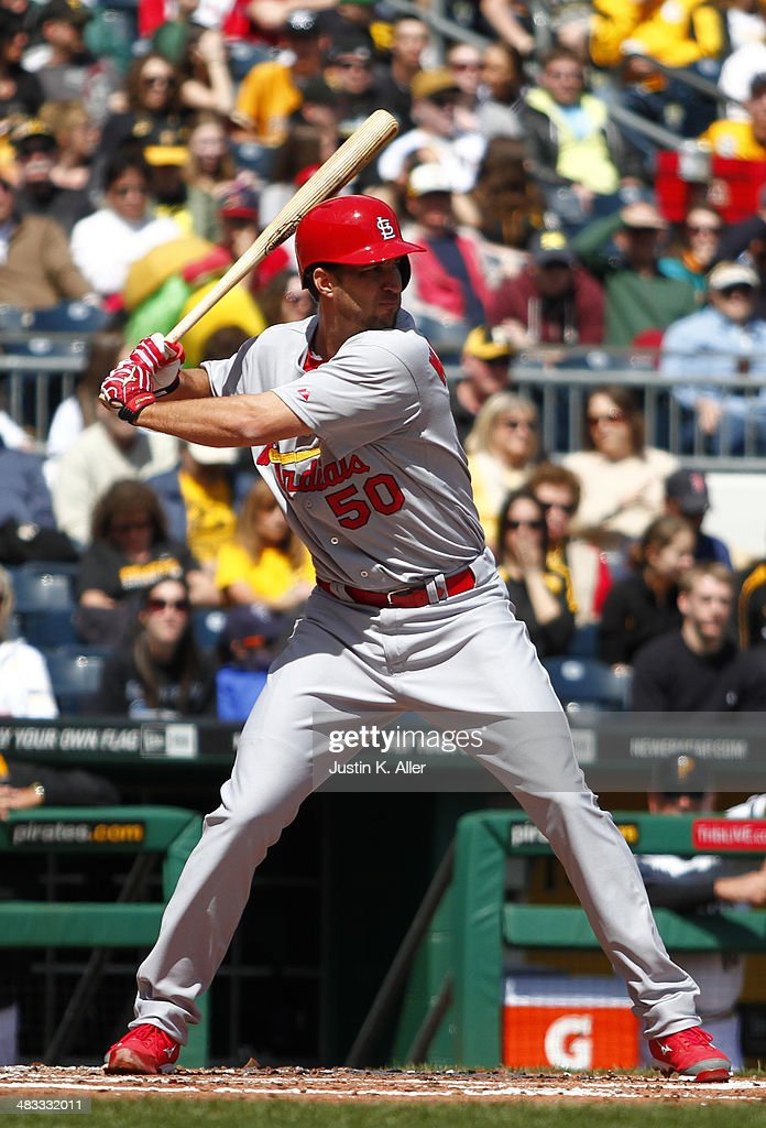 Adam Wainwright #50 of the St. Louis Cardinals plays against the Pittsburgh Pirates during the game at PNC Park April 6, 2014 in Pittsburgh, Pennsylvania.