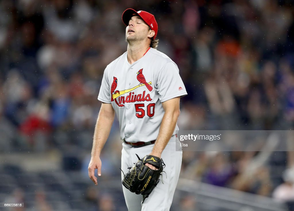 Adam Wainwright #50 of the St. Louis Cardinals reacts after giving up a solo home run to Aaron Hicks of the New York Yankees in the fifth inning on April 16, 2017 at Yankee Stadium in the Bronx borough of New York City.