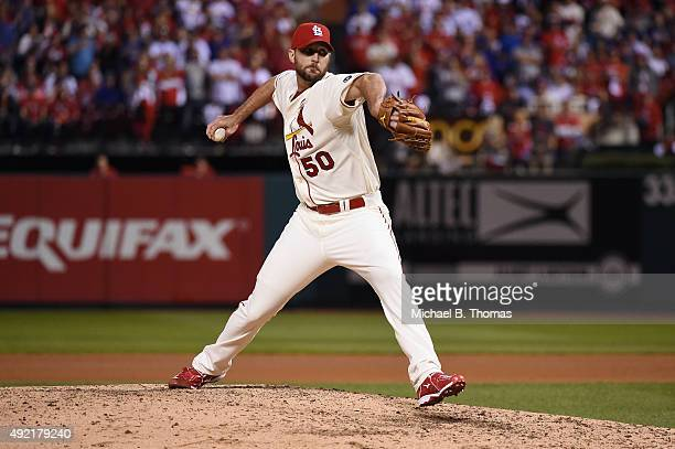 Adam Wainwright of the St Louis Cardinals throws a pitch in the seventh inning against the Chicago Cubs during game two of the National League...
