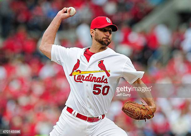Adam Wainwright of the St Louis Cardinals throws to a Milwaukee Brewers batter at Busch Stadium on April 13 2015 in St Louis Missouri