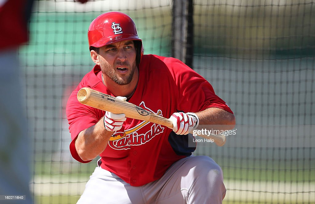 Adam Wainwright #50 of the St. Louis Cardinals works out during spring training on February 20, 2013 in Jupiter, Florida.