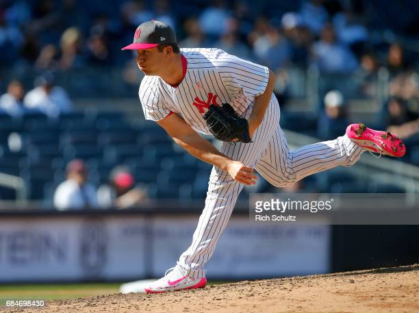 Adam Warren of the New York Yankees in action against the Houston Astros during game one of a doubleheader at Yankee Stadium on May 14 2017 in New...