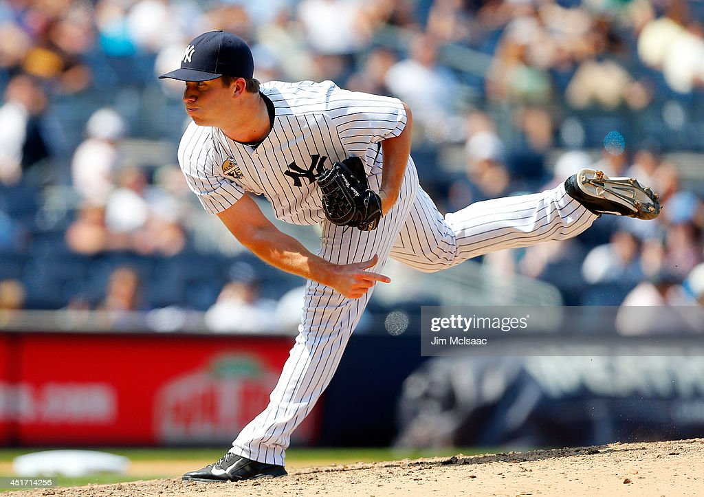 Adam Warren #43 of the New York Yankees in action against the Tampa Bay Rays at Yankee Stadium on July 2, 2014 in the Bronx borough of New York City. The Rays defeated the Yankees 6-3.